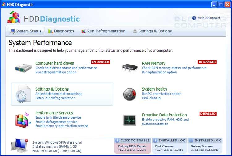 HDD Diagnostic screen shot