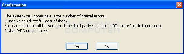 Disk error scan results