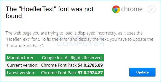 Chrome HoeflerText Font Alert