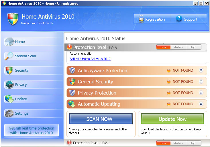 Main screen of Home Antivirus 2010