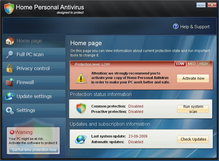 Home Personal Antivirus screen shot