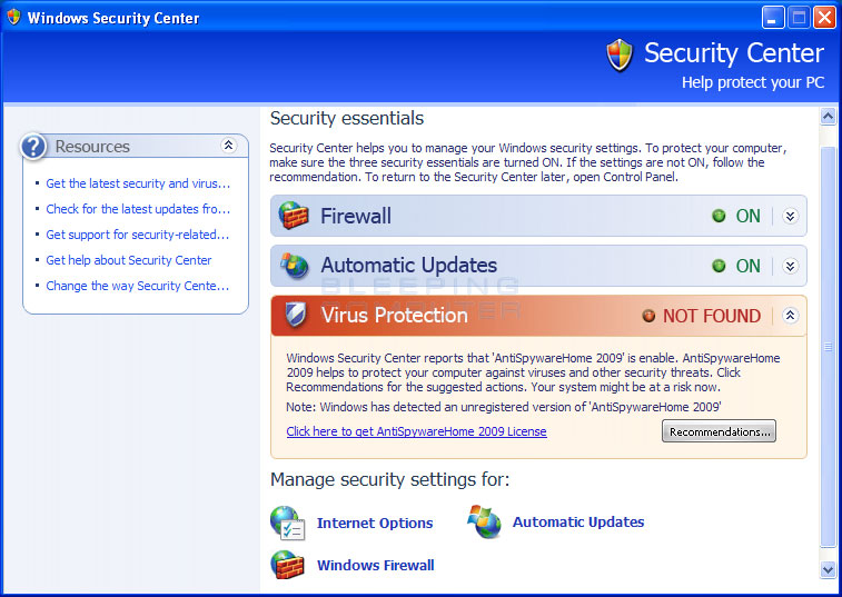 Imposter Windows Security Center promoting Home Antivirus 2009
