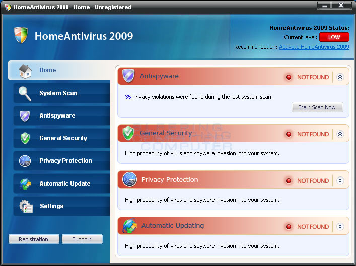 The HomeAntivirus 2009 Rogue