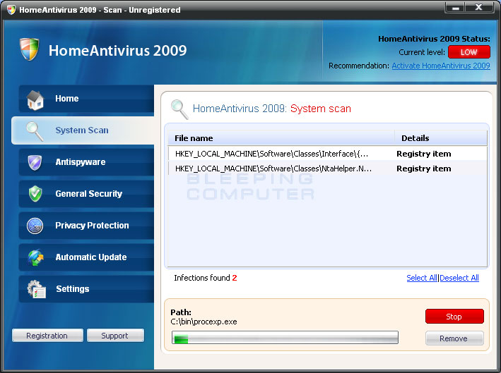Scanning screen for Home Antivirus