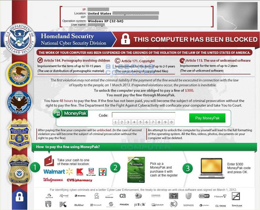 Homeland Security Ransomware screen shot