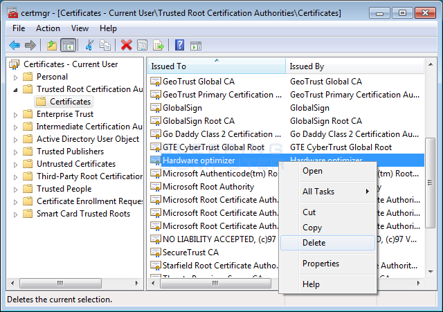 Delete Hardware Optimizer certificate