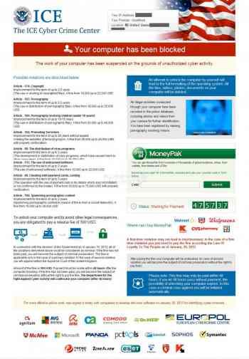 ICE Cyber Crime Center Ransomware Screenshot