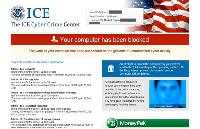 ICE Cyber Crime Center Ransomware screen shot