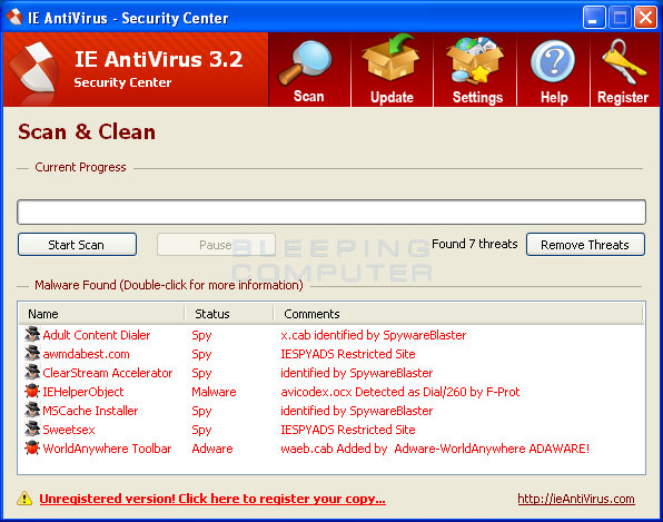Screen shot of IE Antivirus 3.2