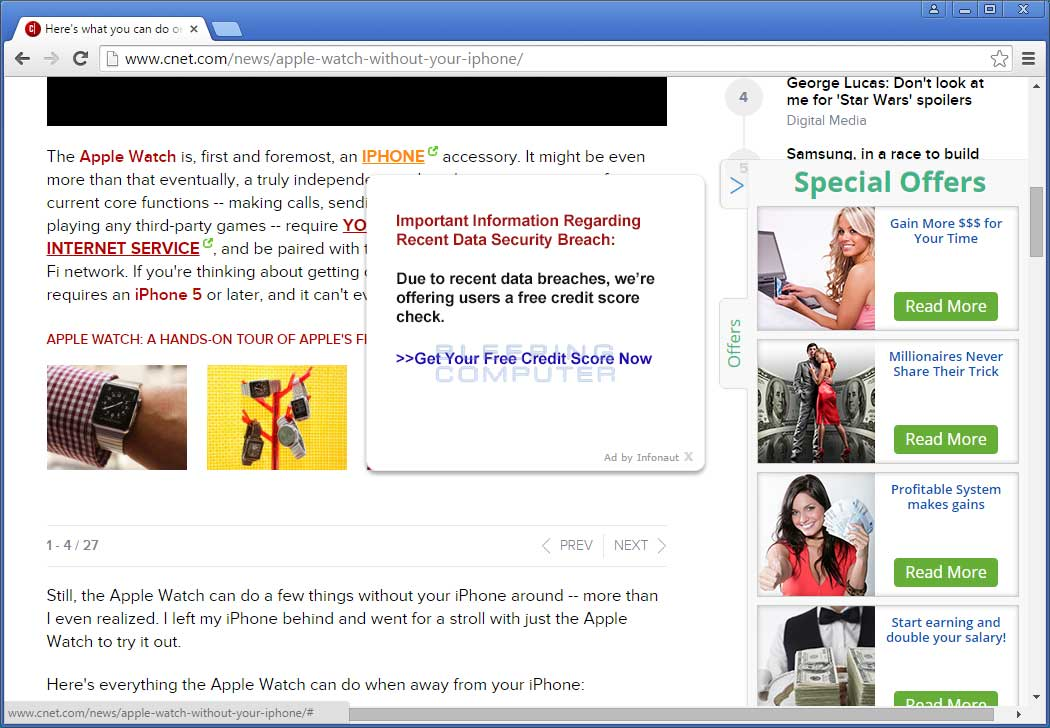 Infonaut Advertisements on CNET