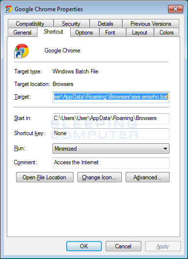 Hijacked Browser Shortcut