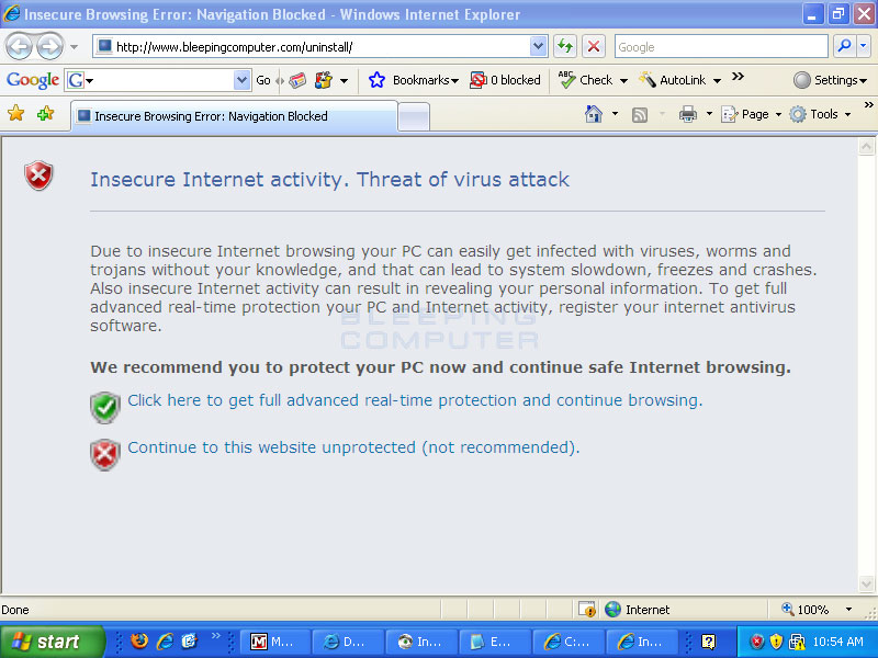 Internet Antivirus hijacking Internet Explorer