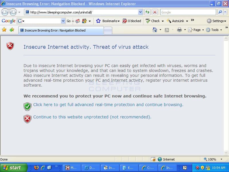 Internet Antivirus hijacking Internet Explorer