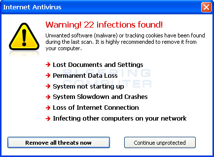 Internet Antivirus scan results summary