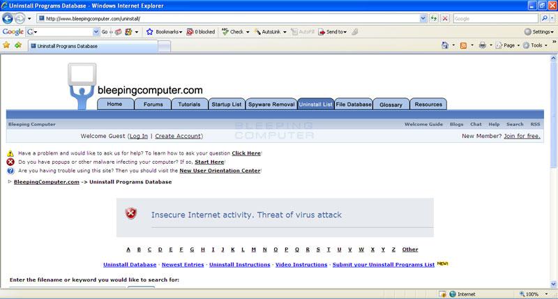Internet Antivirus alert injected into a web site