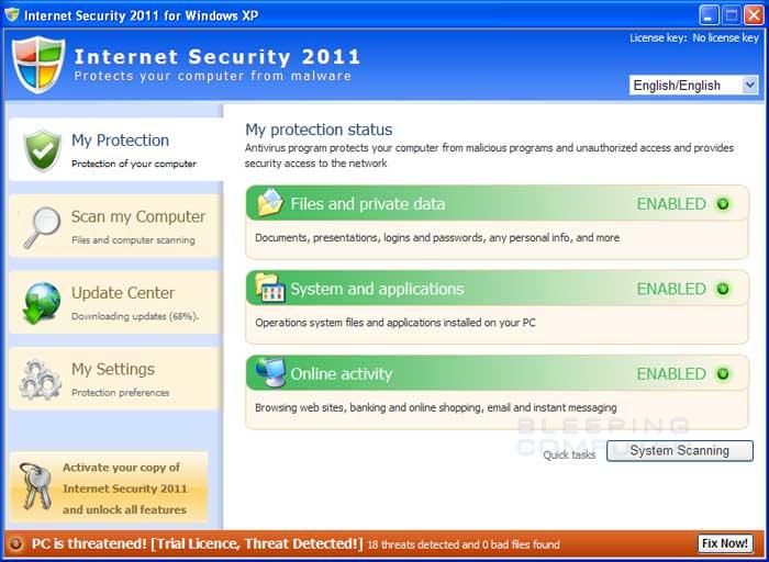 Internet Security 2011 screen shot