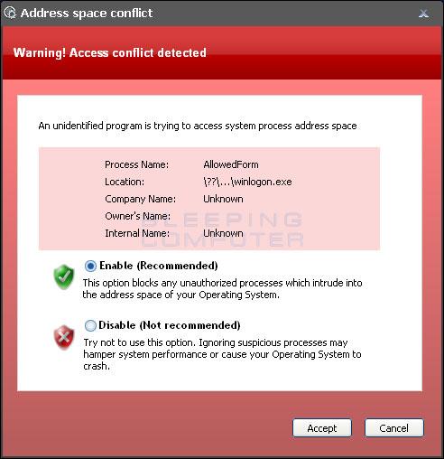 Fake Address Space Conflict Error alert