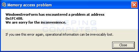 Fake Memory Access error alert