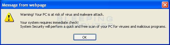 Fake online security pop-up