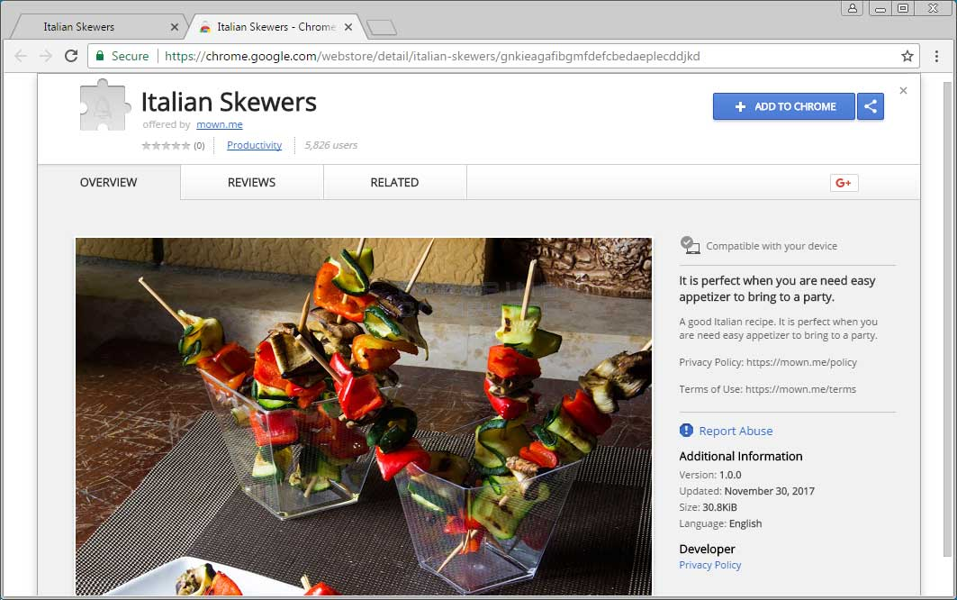 Italian Skewers Chrome Extension