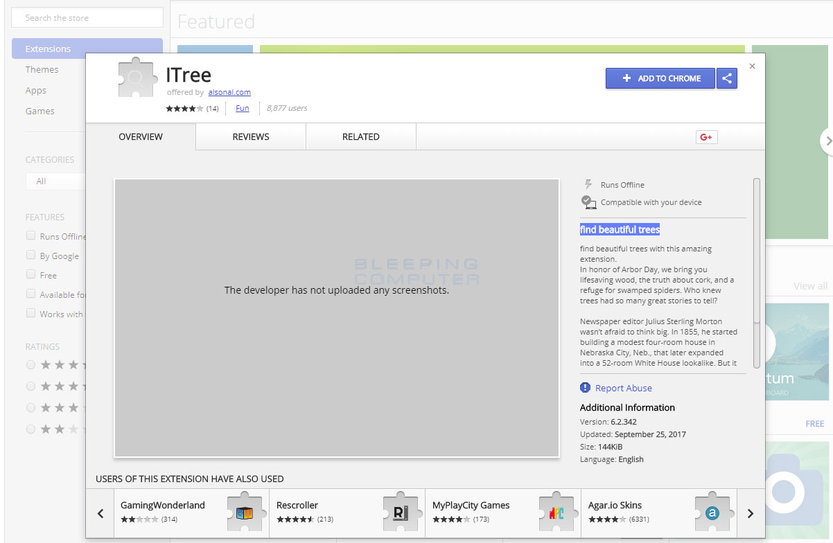 ITree Chrome Web Store Page