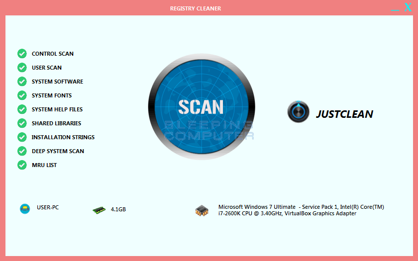 JustClean Registry Cleaner