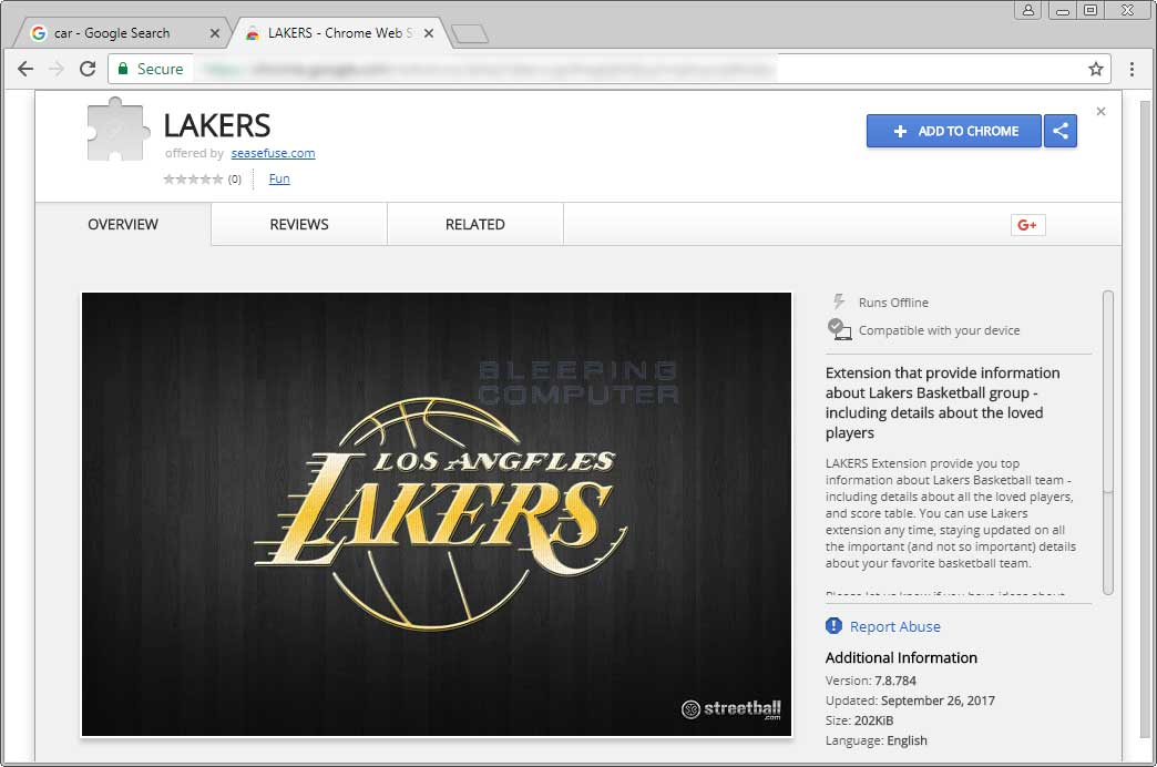 Lakers Chrome Web Store Entry