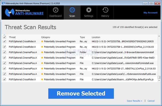 MalwareBytes Scan Results
