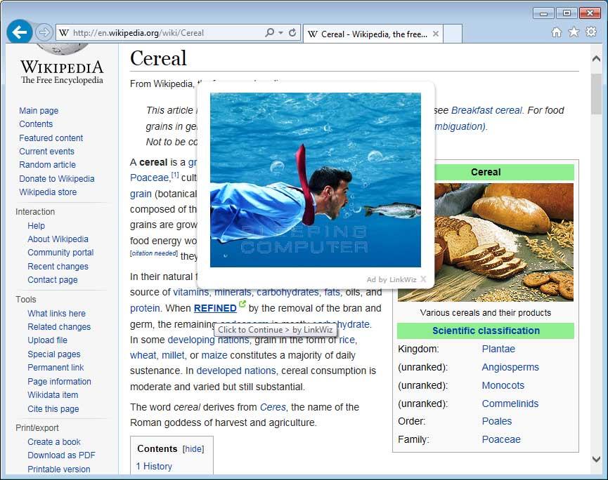 LinkWiz advertisements shown on Wikipedia
