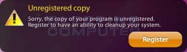 Unregistered Copy Alert