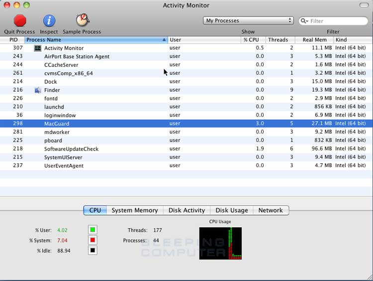 Mac Guard process in Activity Monitor