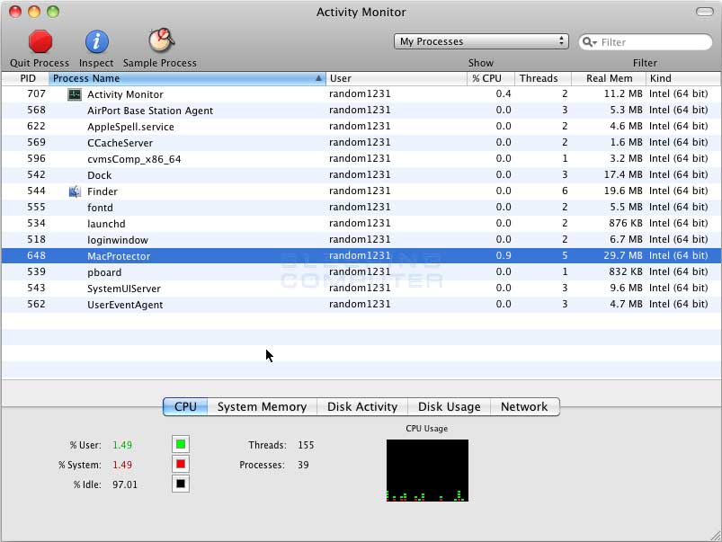 Mac Protector process in Activity Monitor
