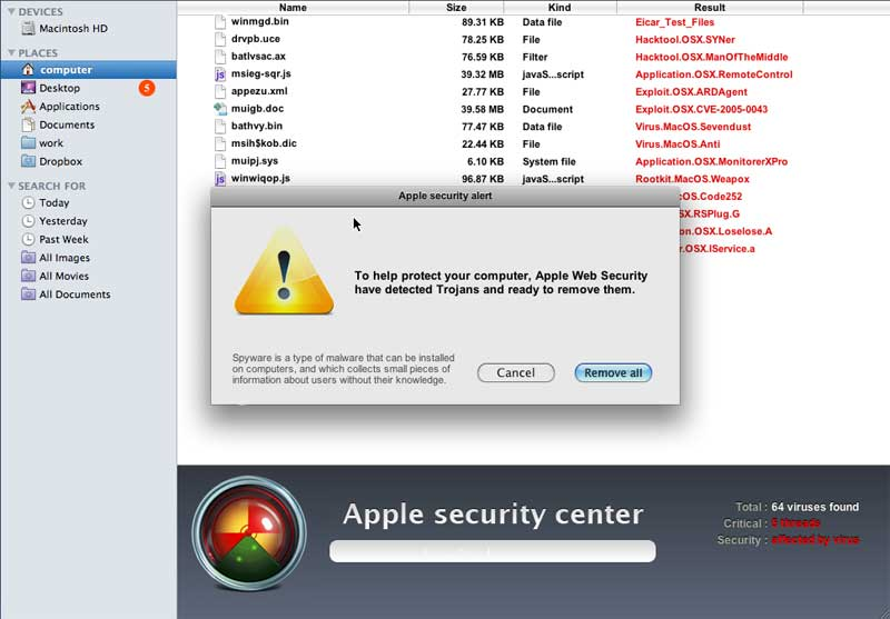 Fake online web scanner promoting Mac Shield