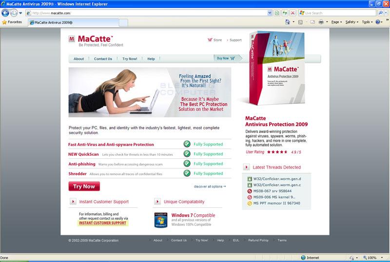 MaCatte Antivirus 2009 web site