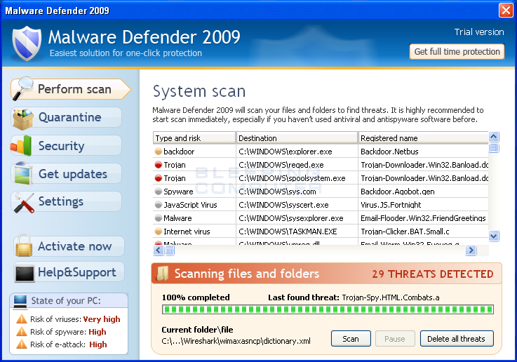Malware Defender 2009 screen shot