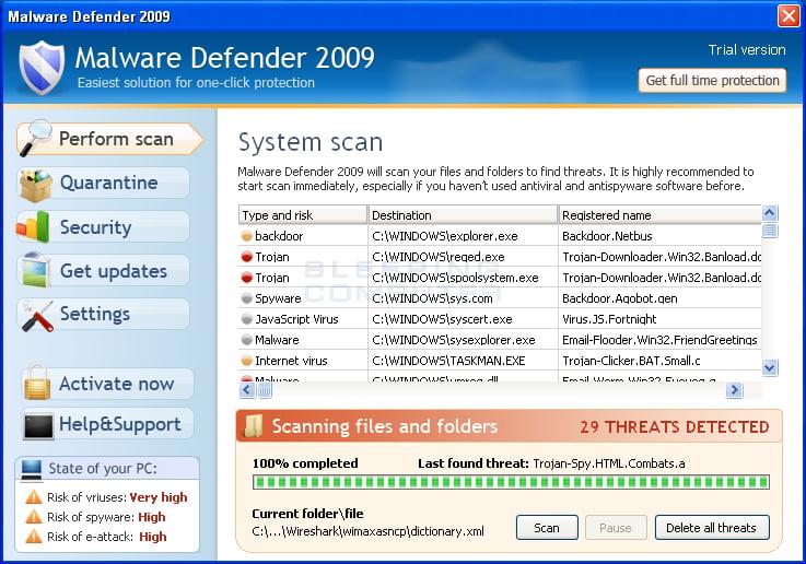 Malware Defender 2009 screen shot