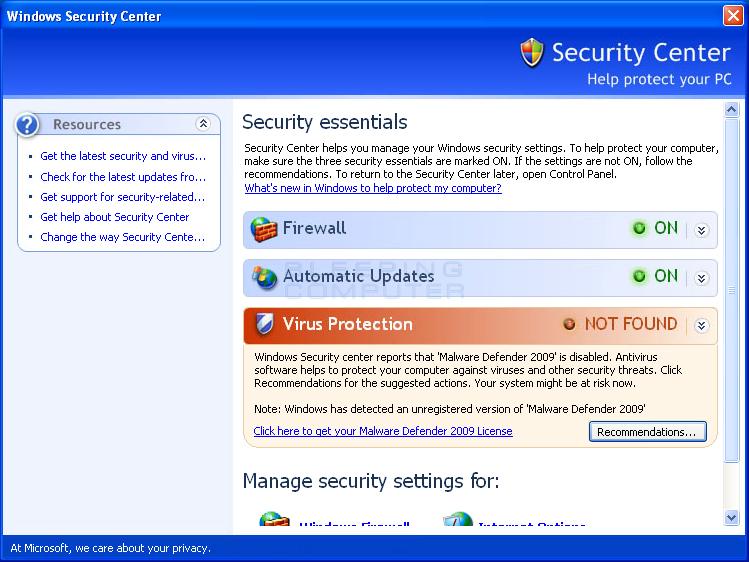 Fake Windows Security Center promoting Malware Defender 2009