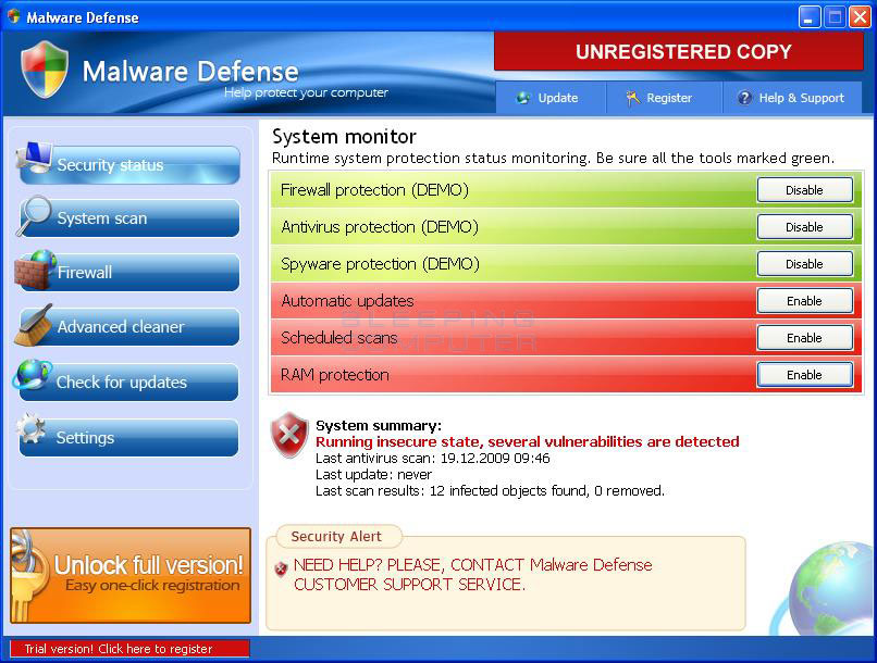 Malware Defense screen shot