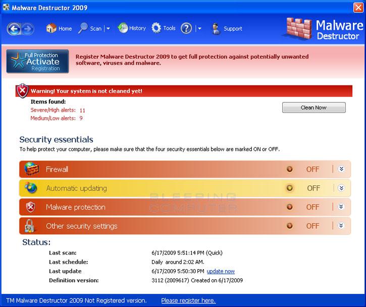 Malware Destructor 2009 screen shot