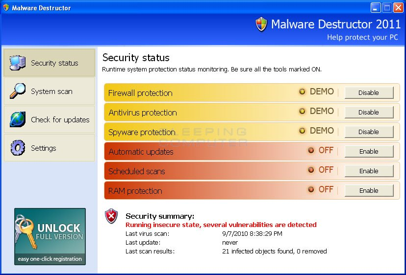 Malware Destructor 2011 screen shot