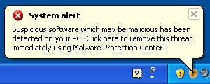 Fake system alert