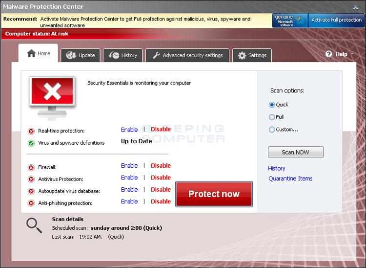 Malware Protection Center screen shot