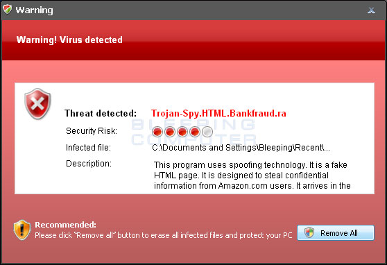 Fake virus detected alert