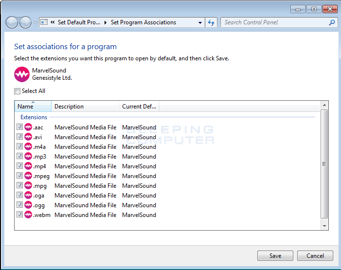 Files being associated with MarvelSound