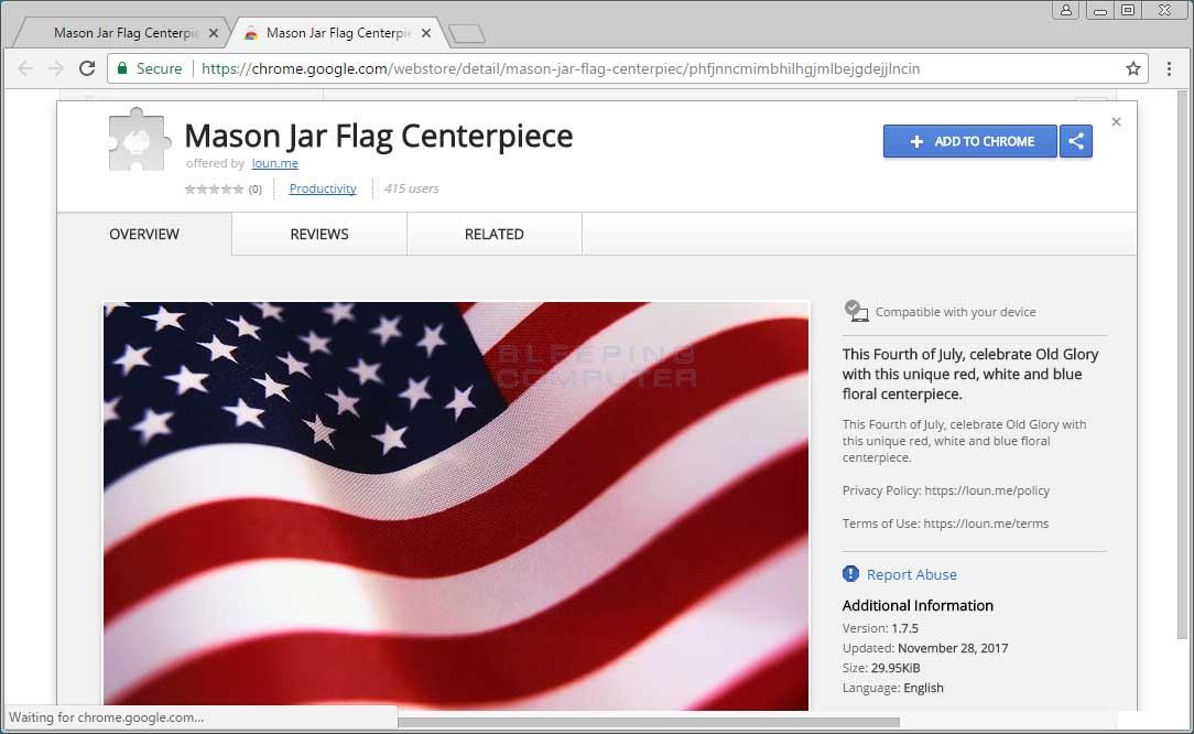 Mason Jar Flag Centerpiece Chrome Web Store Page