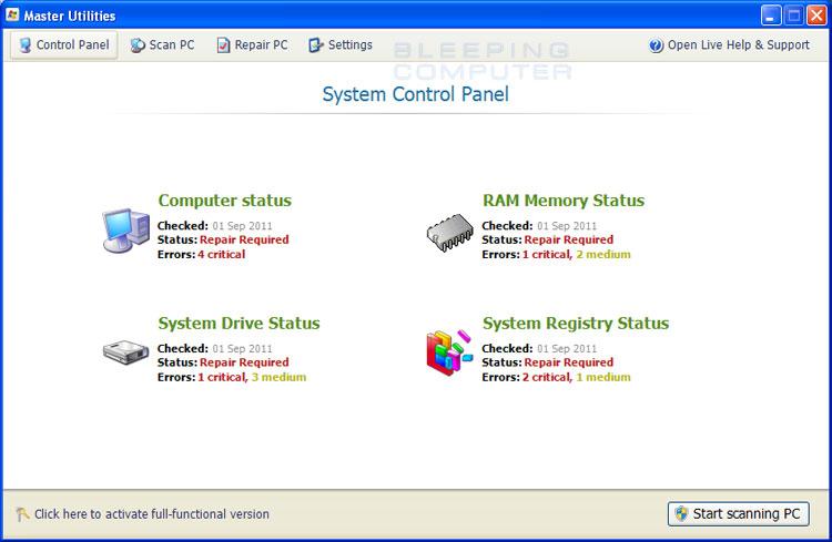 Master Utilities screen shot