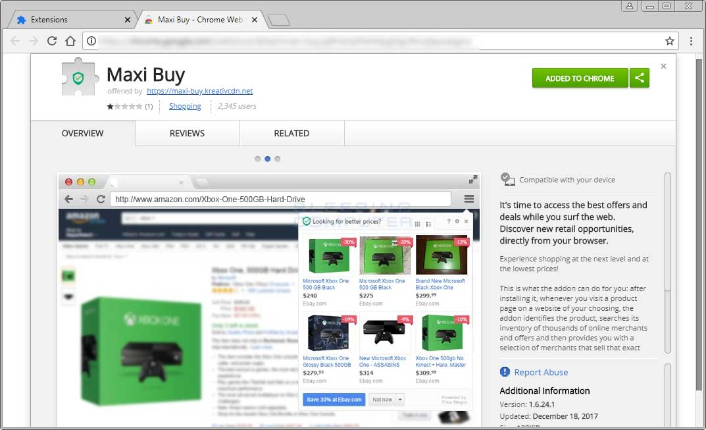 MaxiBuy Chrome Web Store Page