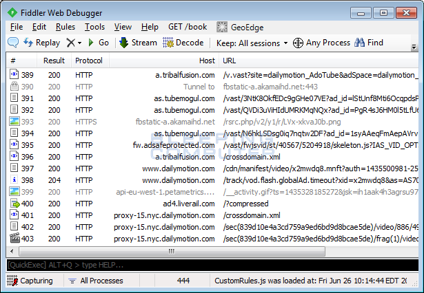 Fiddler showing connections to various video and ad sites
