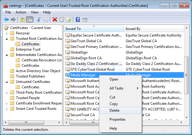 Delete Media Manager certificate