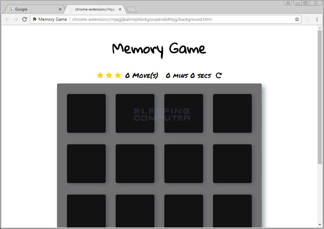 Memory Game Chrome Extension